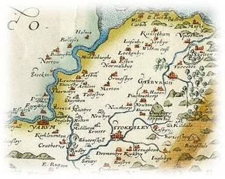Saxton's map of Yorkshire (part), published 1577.